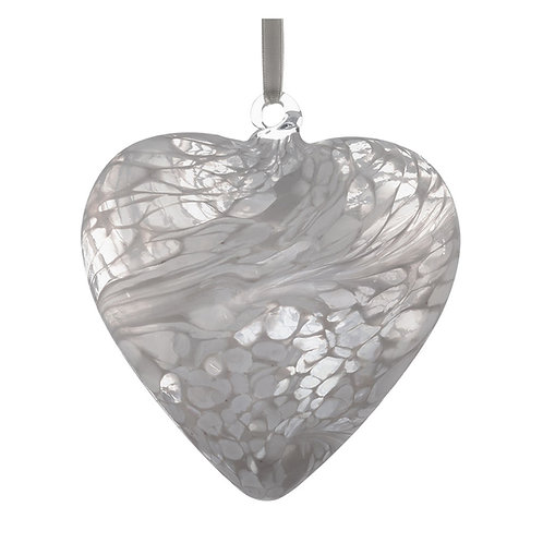 White Glass Friendship Glass Heart 8 cm with Gift Box