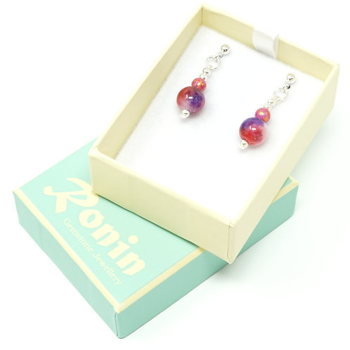 Ronin Gemstone Drop Earrings Icon Pink & Purple Jade