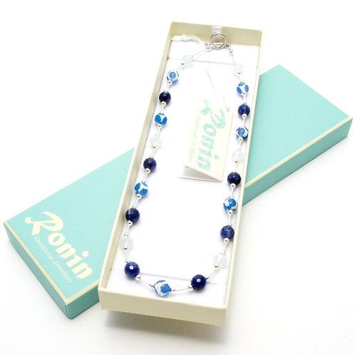 "Ronin Gemstone 18"" Necklace Sailboat Sodalite & Agate in box"
