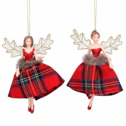 Gisela Graham Red Tartan Fairy with Acorn Leaf Wings