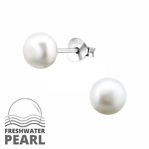 Sterling Silver Pearl  White stud earrings 6 mm
