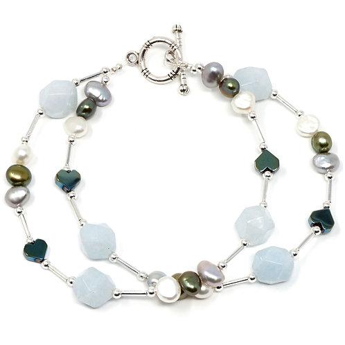 "Ronin Gemstone 8"" Bracelet Lighthouse with Pearls, Haematite, Calcite"