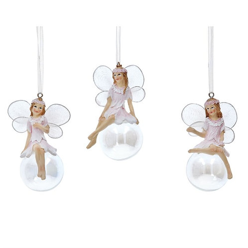 Gisela Graham Pink Resin Fairy on a Soap Bubble Decoration