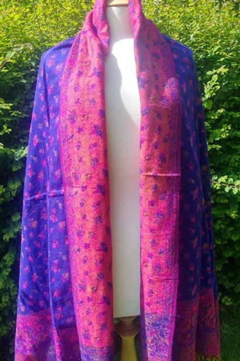 Fairtrade Reversible Nepal Shawl - Blue/Purple & Pink