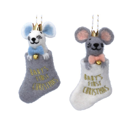 Gisela Graham Babies 1st Christmas Mouse Decoration