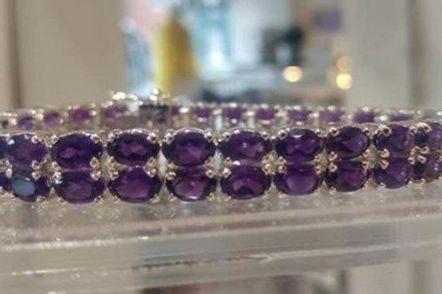 Double Amethyst Sterling Silver bracelet close up