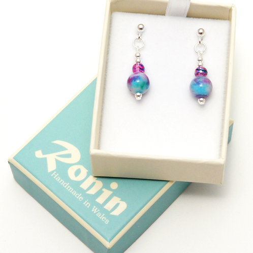 Ronin Gemstone Drop Earrings with Jade and Glass Beads