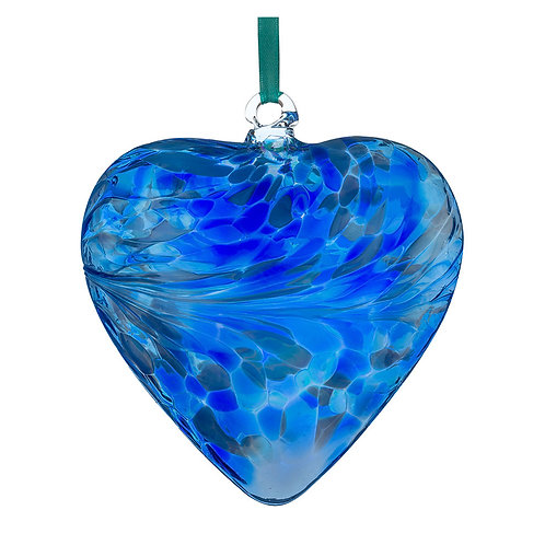 Blue Glass Friendship Glass Heart 8 cm with Gift Box