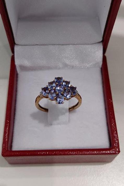 9k Yellow Gold Tanzanite & Diamond Ring