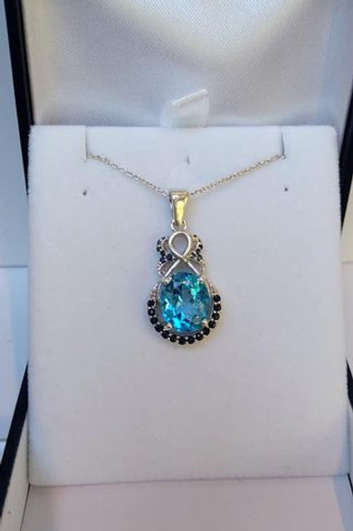 Blue Topaz and Sapphire Sterling Silver pendant