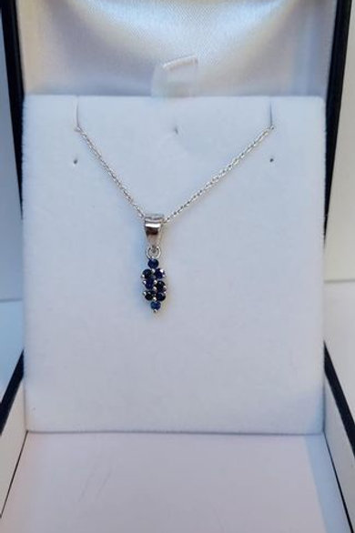 Blue Sapphire Dainty Sterling Silver pendant
