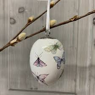 Gisela Graham White China Ceramic Butterfly Hanging Eggs
