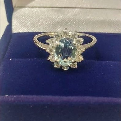 Oval Aquamarine and White Zircon Sterling Silver ring