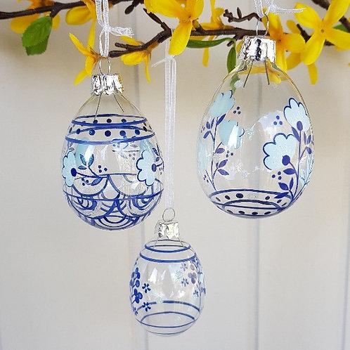 Gisela Graham Easter Glass Delph Blue Egg Floral Hanging Tree Decs Set of 3