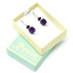 Ronin Gemstone Drop Earrings with Purple Agate & Haematite