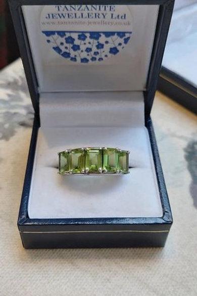 Peridot 5 Stone Emerald Cut Sterling Silver ring