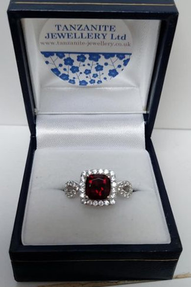 Cushion Cut Garnet and White Zircon Sterling Silver ring