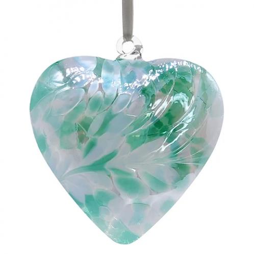 Green & Pearl Glass Friendship Glass Heart