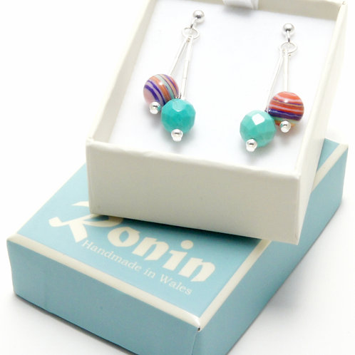 Ronin Gemstone Drop Earrings with Turquoise and Striped Beads