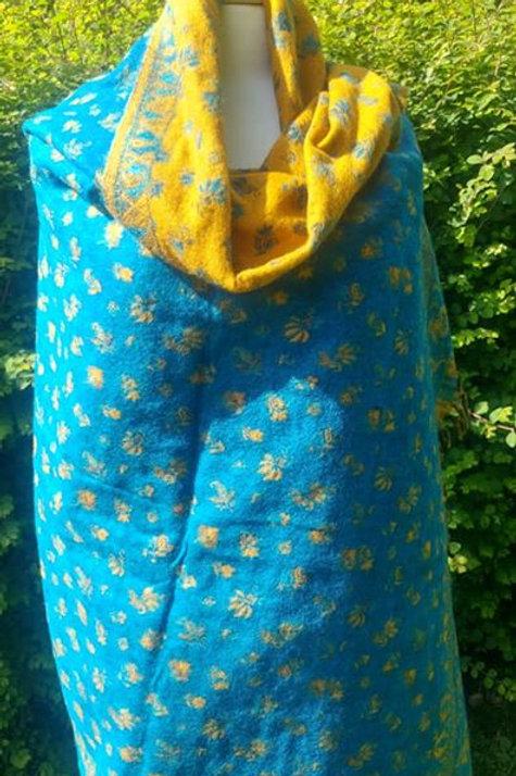 Fairtrade Reversible Nepal Shawl - Bright Turquoise & Mustard