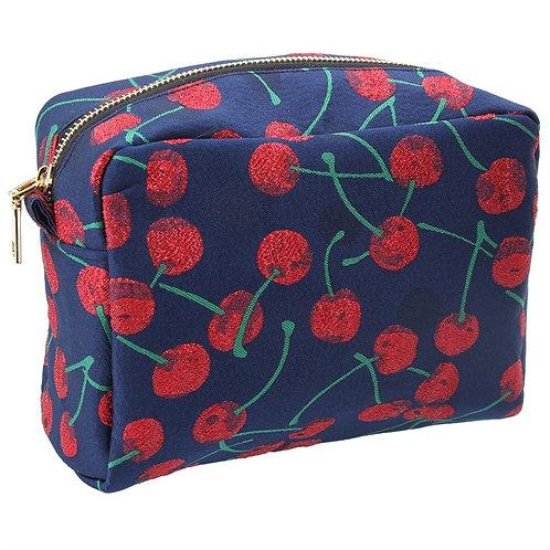 Gisela Graham Cherries Large Jaquard Cosmetic Bag