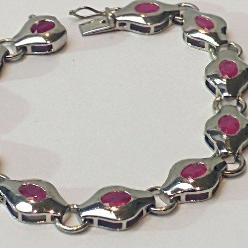 "Ruby 7.5"" Sterling Silver bracelet"