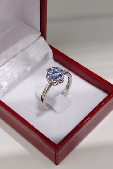 Tanzanite 1 Carat Forget Me Not Blue Flower ring set in Sterling Silver