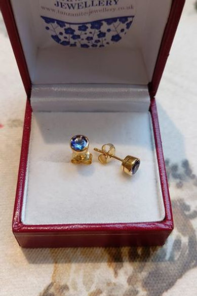 Tanzanite 1ct Bezel Set Earrings in Sterling Silver with Yellow Gold Overlay