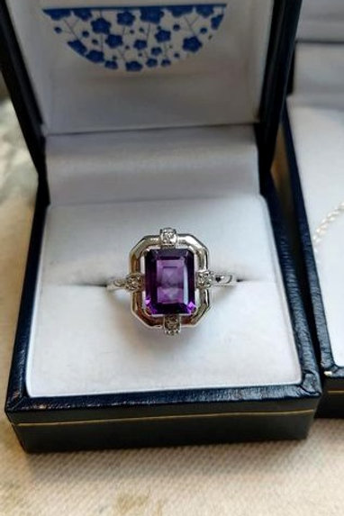 Amethyst Emerald Cut ring with White Zircon in Sterling Silver