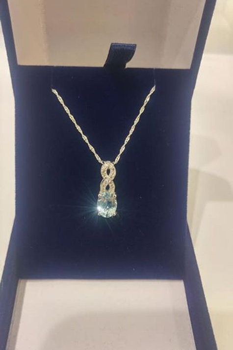 Aquamarine and White Zircon Sterling Silver pendant
