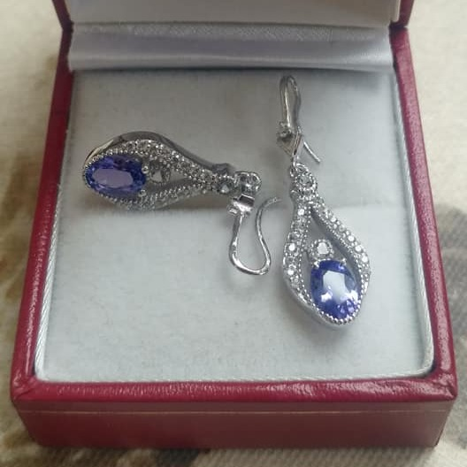 Tanzanite and Zircon Earrings
