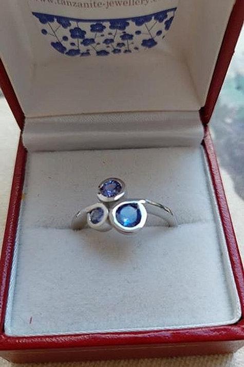 Tanzanite Sterling Silver Trilogy Swirl Ring