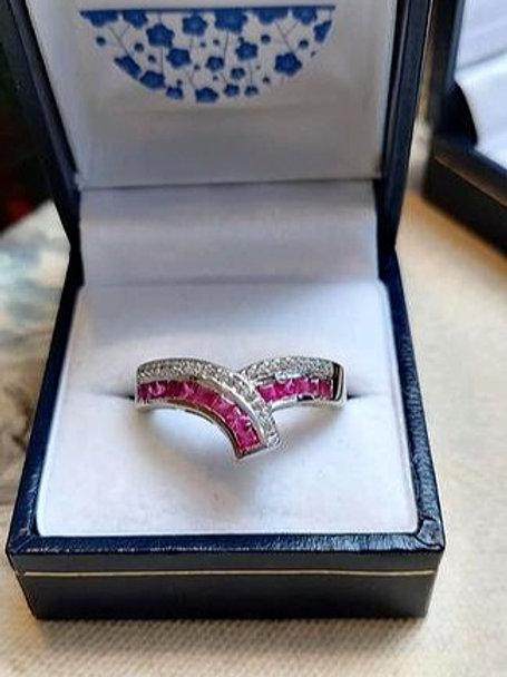Ruby & White Zircon V Shaped ring set in Sterling Silver