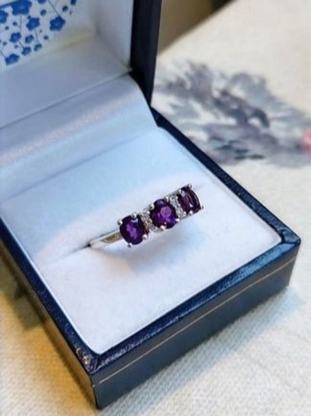 Amethyst Trilogy Ring set with White Zircon in Sterling Silver