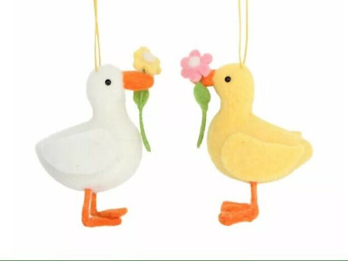 Gisela Graham Felted Wool Hanging Decorative Ducks with Flowers