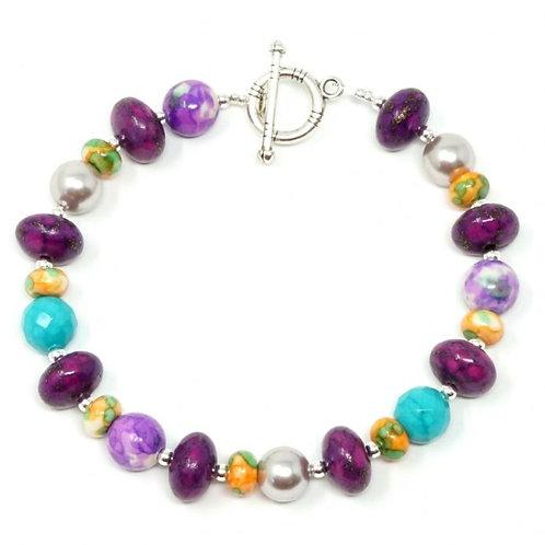 "Ronin Gemstone 8"" Bracelet Together Turquoise, Pearl Beads & Jade"