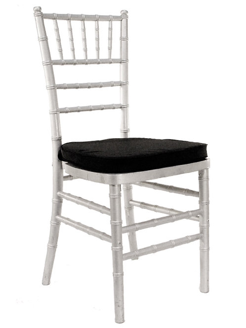 Silver Chiavari Chair with Black Pad