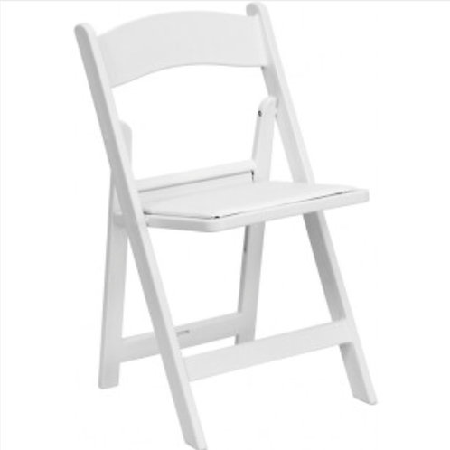 White Resin Chair with White Pad