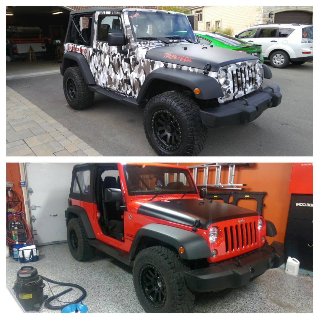 fully wrapped jeep in camo