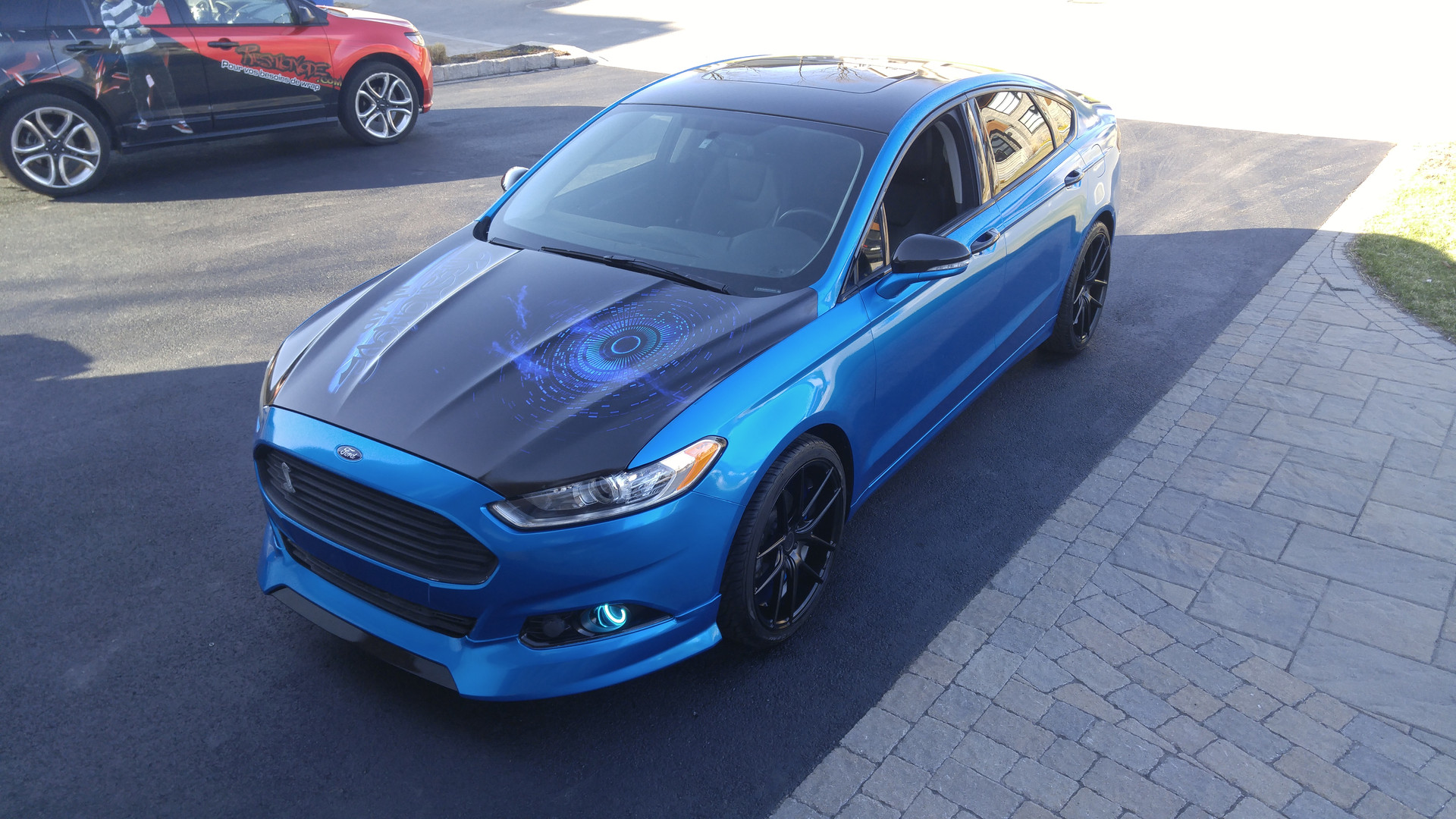 full wrap blue fusion with custom printed hood