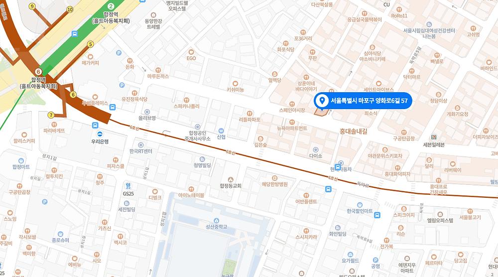 합정역 마사지 구인구직 지도