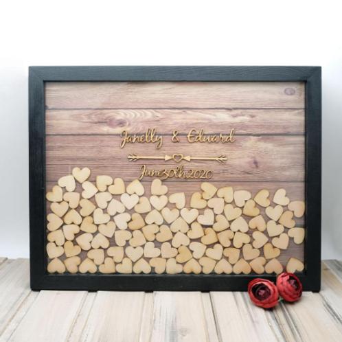 Alternatief gastenboek hout met houten tekst