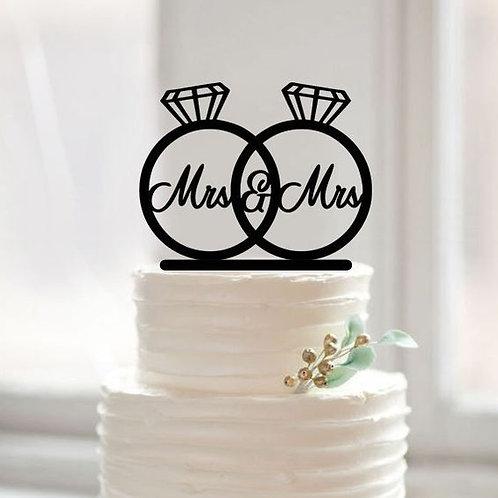 Taarttopper Mrs & Mrs trouwringen