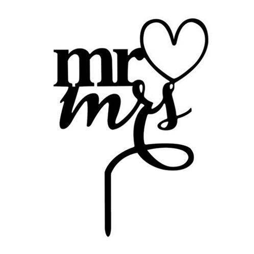 Bruidstaart topper Mr & Mrs acryl
