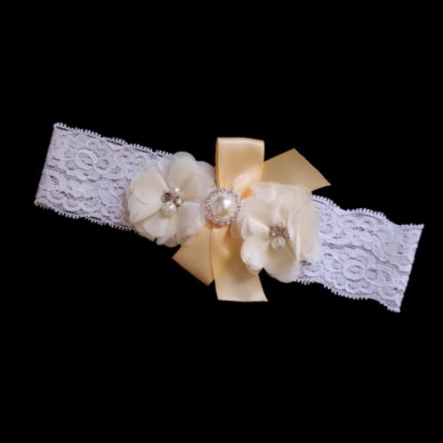Kousenband zijde bloemen met parels
