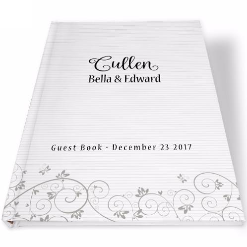 Gastenboek sierlijke print met lijntjes grijs
