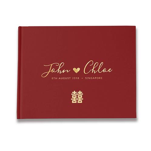 Bruiloft gastenboek rood Aziatisch