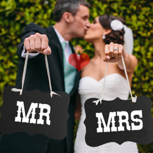 Mr & Mrs stoeldecoratie