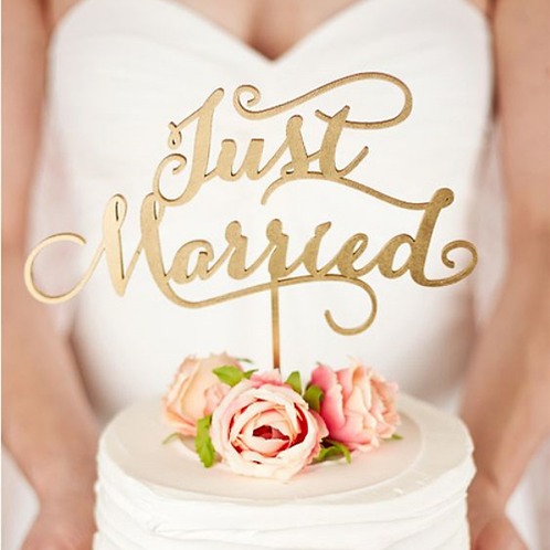 Bruidstaart topper hout ''Just Married''