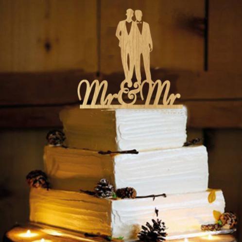 Taarttopper Mr & Mr hout homohuwelijk
